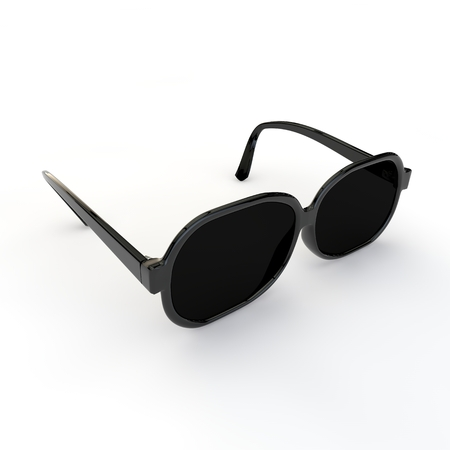 Sunglasses with black plastic frame on white isolated background. 3D illustration
