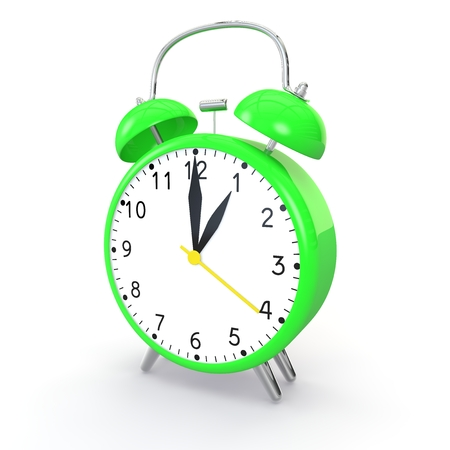 Green alarm clock on isolated background show time 1:00. 3d illustration