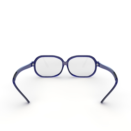 Glasses with blue plastic frame on white isolated background. 3D illustration