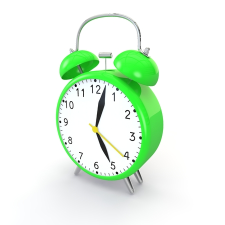 Green alarm clock on isolated background show time 5:03. 3d illustration