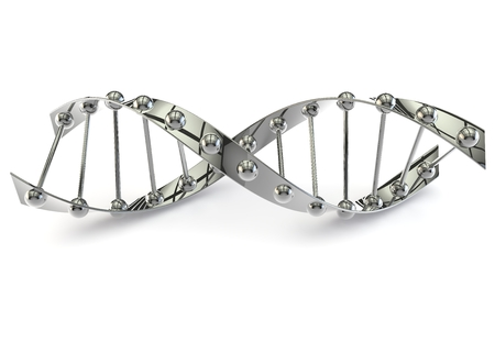 DNA structure on a white isolated background lying on the floor. 3D illustration Stock Photo