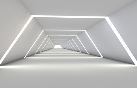Abstract tunnel with gaps, with a reflective floor and ceiling. 3D illustration