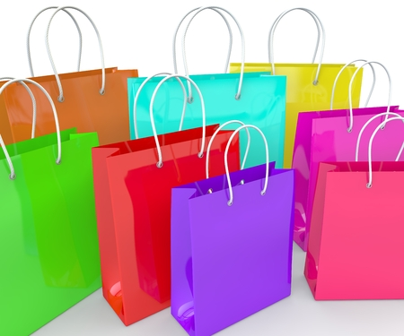 Multicolored empty bags for goods and products on a white isolated background. 3D illustration