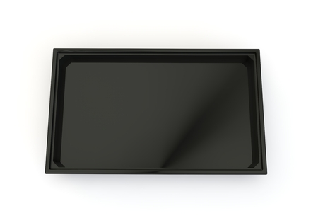 Black plastic pallet for products and goods. White isolated background. 3D illustration Stock Photo