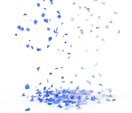 Bright and colorful confetti flying on the floor. Isolated background. 3D illustration Foto de archivo - 110865226