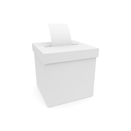 Box for voting with ballots. Isolated on white background. 3D render