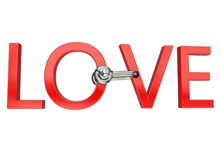 Slogan Love of red letters connected by a bracket. Isolated background. High resolution. 3D render