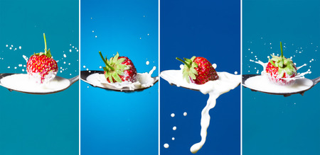 Collage of high-speed photos of falling strawberries in a spoon with milk on a blue background