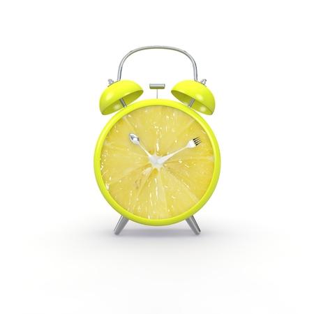 Orange slice alarm clock on white background. Minimal business concept.