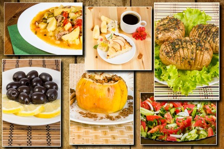 Photo collage of Lunches, breakfasts and snacks on wooden background Zdjęcie Seryjne