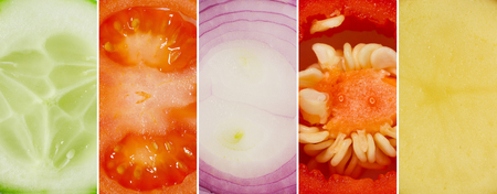 Juicy collage of cucumber, tomato, onion, pepper and potatoes Zdjęcie Seryjne