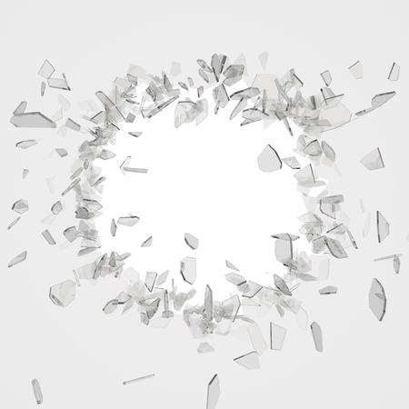 Broken glass from the blow, shot on a white isolated background with space for Your text or image