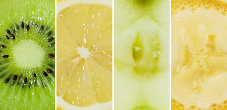 Collage of kiwi, lemon, apple and banana