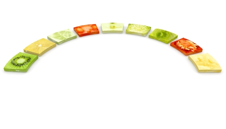 Collage of fruits, vegetables and plants in a circle on isolated white background. In the center is a blank space for your text or photos