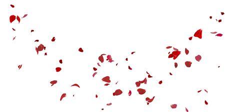 Rose petals flying on white isolated background Stockfoto - 128534340