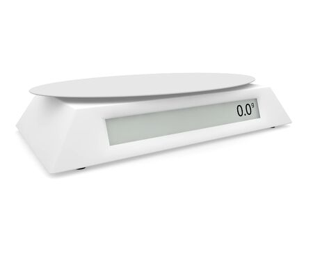 Electronic scales show 0 grams, on a white isolated background. There is a free space for your design. 3D illustration