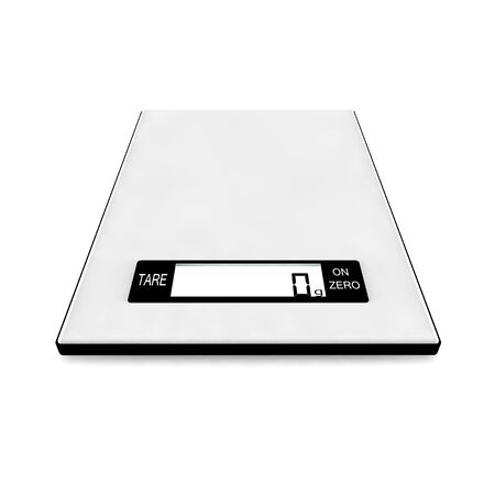 Electronic kitchen scales show zero grams. Isolated white background. 3D render