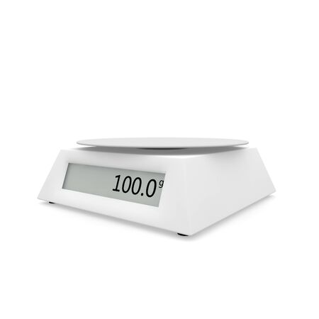 Electronic scales show 100 grams, on a white isolated background. There is a free space for your design. 3D illustration