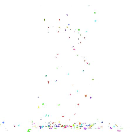 Bright and colorful confetti flying on the floor. Isolated background. 3D illustration