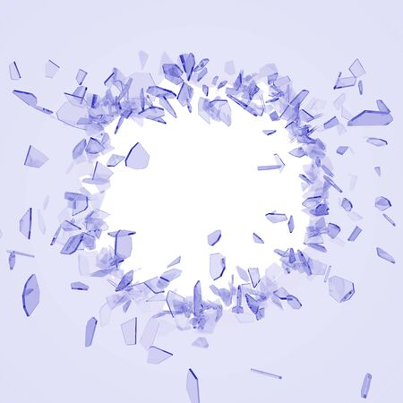 Broken glass from the blow, shot on a white isolated background with space for Your text or image. 3D illustration