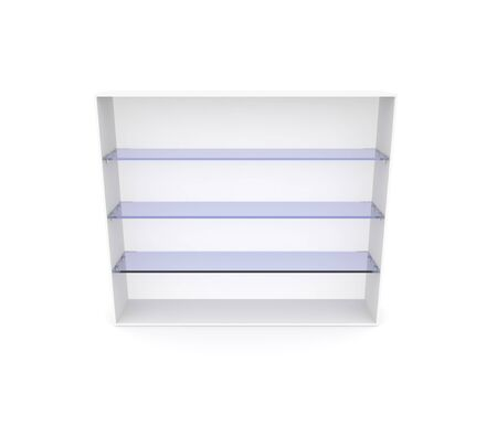 An empty showcase with blue glass shelves. White isolated background. 3D illustration