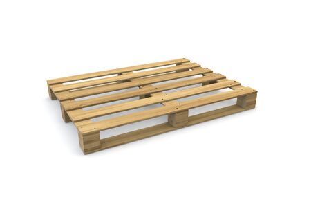 Wooden pallet isolated on white background. There is room for Your design. 3D illustration Zdjęcie Seryjne