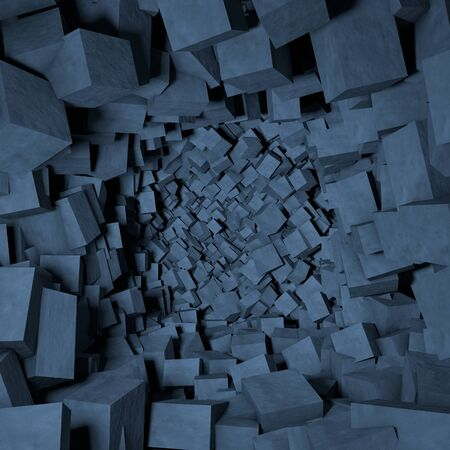 Contemporary abstract background of destroyed concrete cubes. 3D illustration Zdjęcie Seryjne