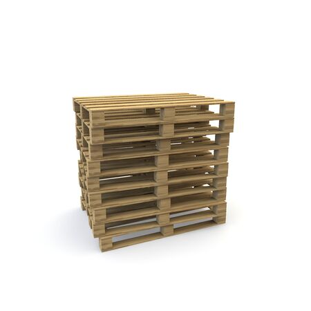 Wooden pallets isolated on white background. There is room for Your design. 3D illustration