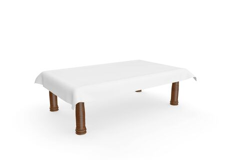 A rectangular wooden table with a white tablecloth. There is room for Your design. Isolated white background. 3D illustration Zdjęcie Seryjne