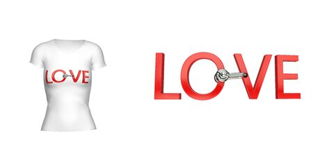 The inscription Love on the womens t-shirt. For clarity, attached t-shirt with this inscription. Isolated white background. 3D illustration Zdjęcie Seryjne