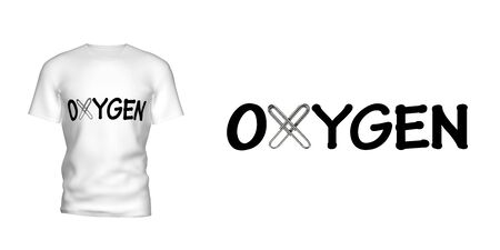 The inscription OXYGEN on the mens t-shirt. For clarity, attached t-shirt with this inscription. Isolated white background. 3D illustration 写真素材