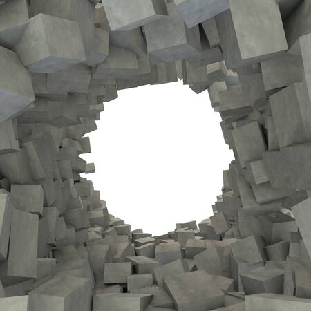 Contemporary abstract background of destroyed concrete cubes. In the middle there is a hole for Your design. 3D illustration Zdjęcie Seryjne