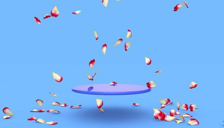 Red rose petals fall on the stand on a blue background. Free space on the stand for your design. 3D illustration