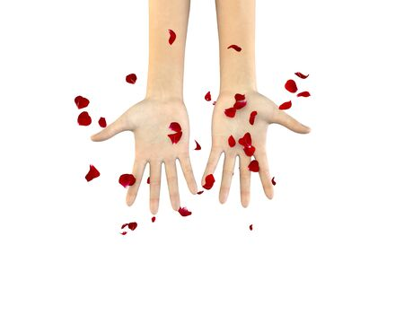 The girl catches the petals of a red rose with her hands. Isolated white background. 3D illustration
