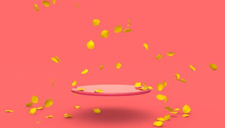 Red rose petals fall on the stand on a red background. Free space on the stand for your design. 3D illustration