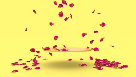 Red rose petals fall on the stand on a yellow background. Free space on the stand for your design. 3D illustration