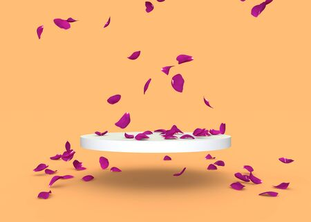 Red rose petals fall on the stand on a orange background. Free space on the stand for your design. 3D illustration