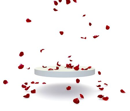 Red rose petals fall on the stand. There is room for your design. Isolated white background