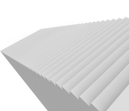 A gray staircase going up on a white background. 3D illustration