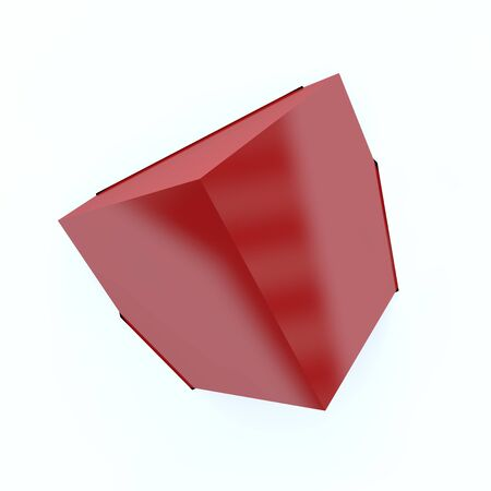Abstract background-red cube came out of the screen. Isolated white background. 3D illustration Banco de Imagens