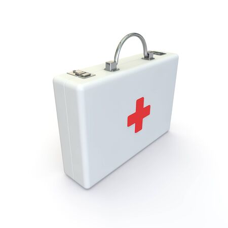 Case with medicines for the emergency doctor. White isolated background. 3D illustration Standard-Bild - 131408978