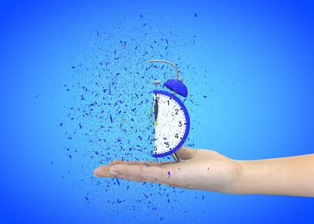 Alarm clock blue on a blue background explodes in the girls hands. 3D illustration 写真素材