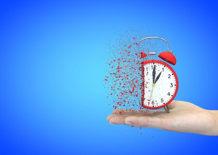 Alarm clock red on a blue background explodes in the girls hands. 3D illustration