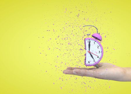 Alarm clock pink on a yellow background explodes in the girls hands. 3D illustration