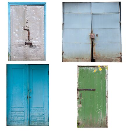 Set of old garage doors. Isolated white background