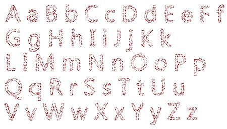 A large collection of letters of the English alphabet from red rose petals. Isolated white background Zdjęcie Seryjne