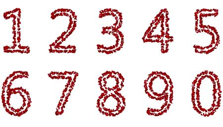 A large collection of numbers from red rose petals. Isolated white background