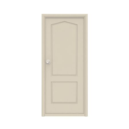 A grey wooden door with a swivel handle. White isolated background. 3D render