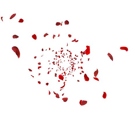 Red rose petals swirl in the air. White isolated background Zdjęcie Seryjne