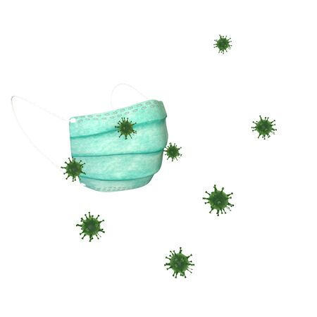 The coronavirus flies to the protective mask and sticks to it from the outside. 3D illustration. Isolated white background